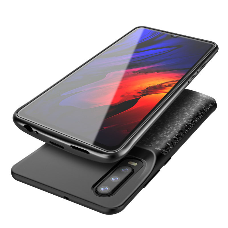 Black Impact Resistant Power Bank Full Protection for Huawei P20 Lite Compatible with Huawei P20 Lite Battery Case 4700mAh Extended Battery Rechargeable Backup Fast Charging Case