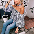 Zewo Women Blouses Shirts Fashion Spring 2017 Ladies Tops Sexy Off Shoulder Lattern Sleeve Blouse Plus Size Shirt Women Blusas
