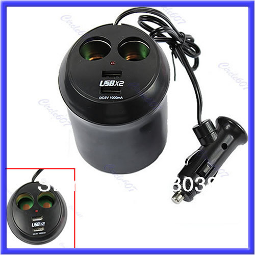 A25 Free Shipping Car Cigarette Lighter Dual USB Charger Socket Cup Holder Adapter Power Supply
