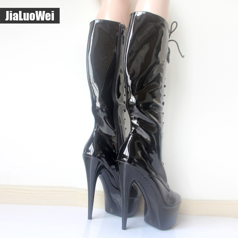 jialuowei New PU Women Knee High Boots Ladies Sexy 15cm High Heel 4cm Platform Punk Side Zipper Cross tied Party Dance Boots in Knee High Boots from Shoes