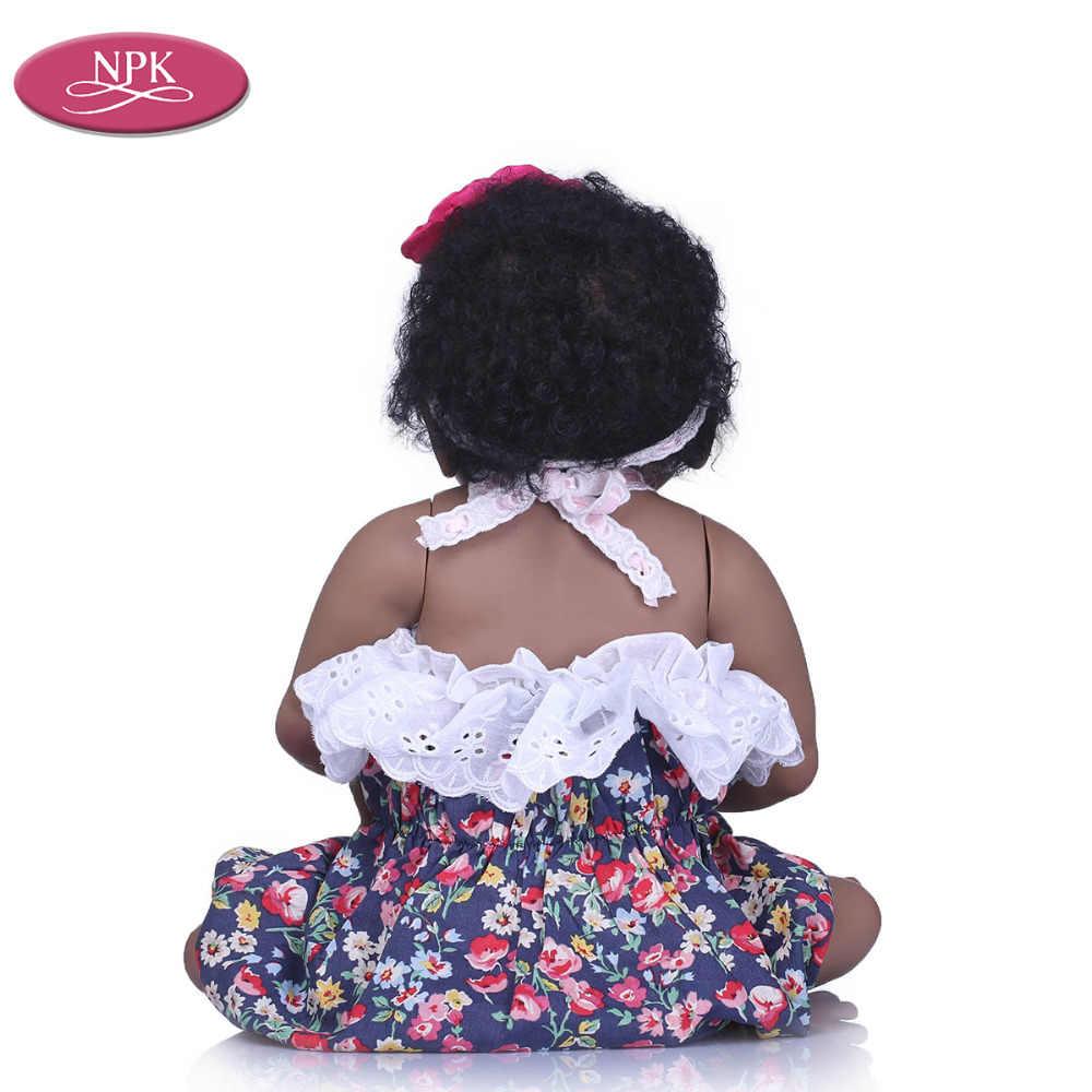 NPK полное виниловое покрытие силиконовая кукла возрожденная девочка реалистичный Возрожденный ребенок Bonecas черная кожа куклы для маленьких девочек детские игрушки Рождество