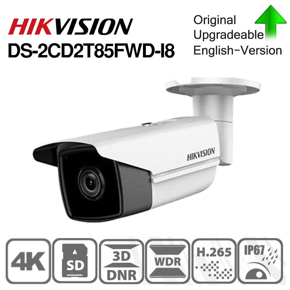 Hikvision DS-2CD2T85FWD-I8 d'origine 8 MP (4 K) IR caméra réseau à balle fixe H.265 + gamme POE IR 80 m 128 GB MAX IP67