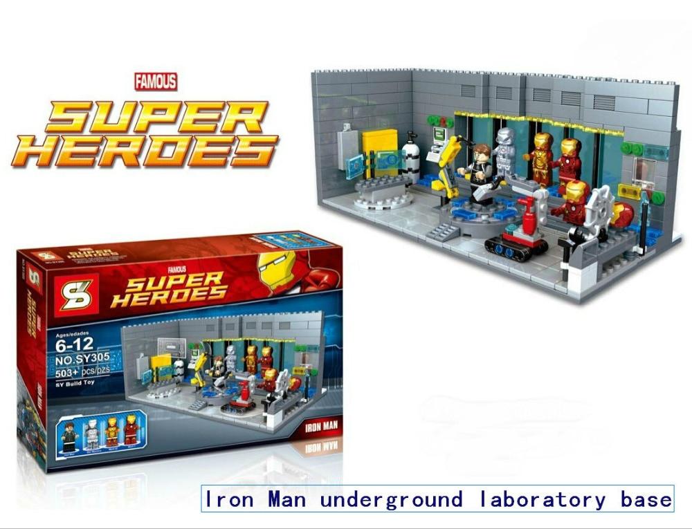 SY305 Building Blocks  Super Heroes Avengers Minifigures Iron Man Mark War Machine Underground Base Station Toys