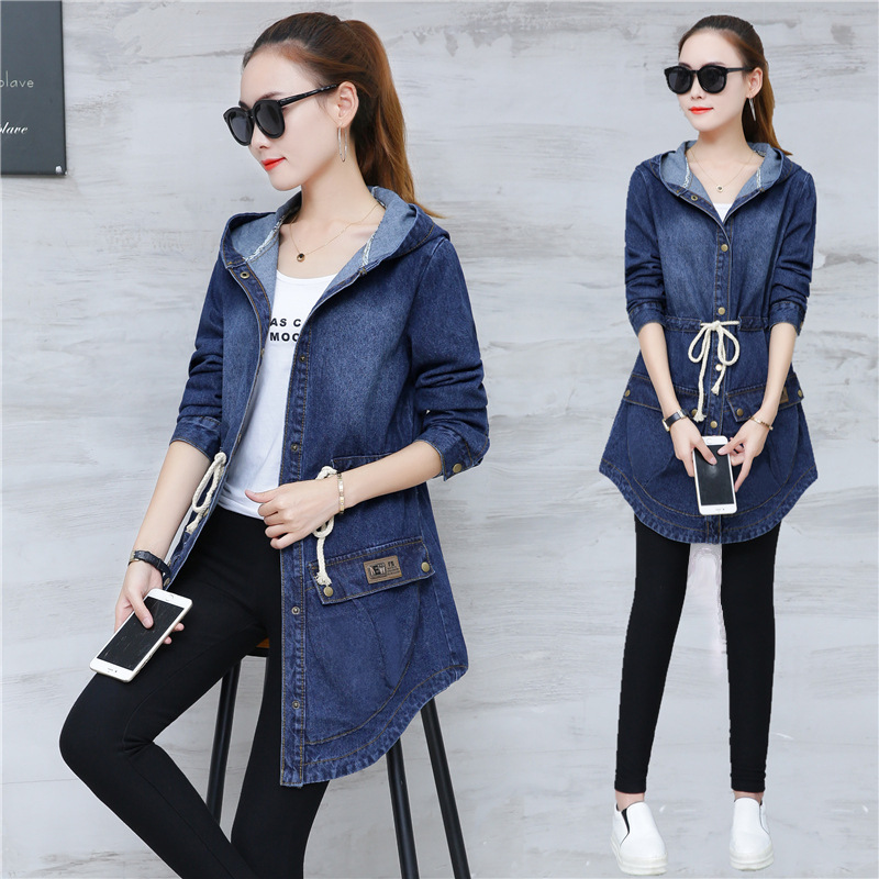 d7cea0284e9 2018 Ladies Denim Jackets Women Long Sleeve Hooded Jaqueta Jeans Jacket  Plus Size Spring Autumn Denim Coat Jeans Outwear 3XL-in Basic Jackets from  Women s ...