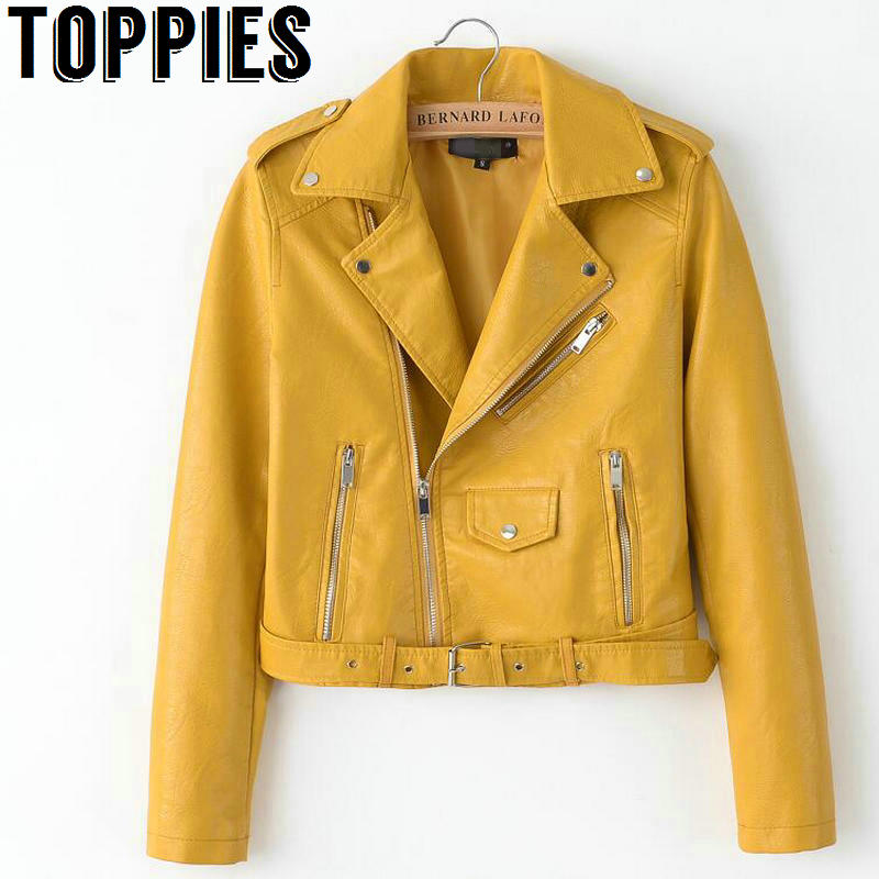 2019 Spring Bright Yellow Women PU Leather Jackets Zipper Leather Coat Turn down Collar Female PU 2019 Spring Bright Yellow Women PU Leather Jackets Zipper Leather Coat Turn-down Collar Female PU Jackets Pink Black Color