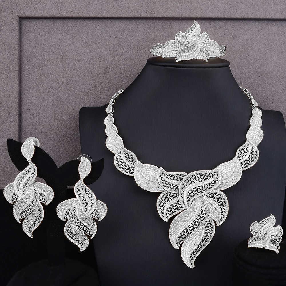 Luxus Hohl Blatt Afrikanischen Cubic Zirkon Erklärung Schmuck Sets Für Frauen Hochzeit Dubai Braut Schmuck Sets 2019 Neue