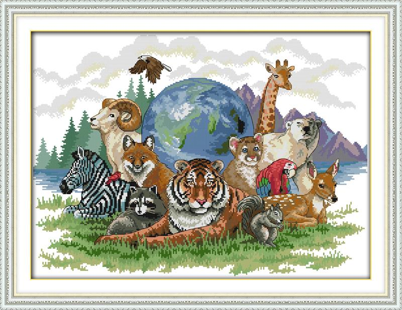 Animal World (3) DMC Counted Cross Stitching 14CT 11CT DIY Needlework Stitch Kits Embroidery Home Decor Crafts - Amarantine cross-stitch factory Co., LTD. store