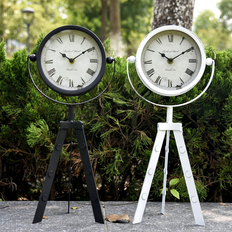 European Iron Floor Clock Rotate 360 Degrees With Tripod Can