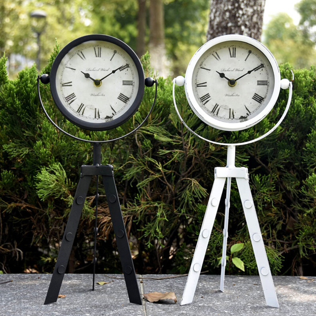 European Iron Floor Clock Rotate 360 Degrees With Tripod Can Handed Home  Furnishing Articles Creative Arts