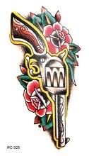 RC2325 Flowers Colored Gun Fake Tattoo Terrorist Designs Temporary Tattoo Sticker Body Art Water Transfer Tattoo Taty