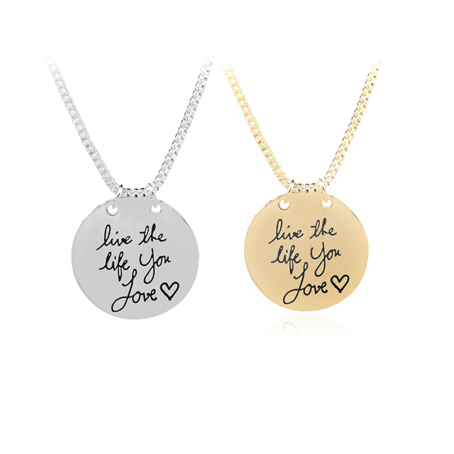 Inspirational necklaces live the life you lovesilver plated inspirational necklaces live the life you lovesilver plated lettering round pendants for women mozeypictures Choice Image