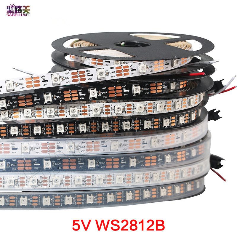 1m/5m WS2812B Smart Led Pixel Strip,Black/White PCB,30/60/144leds/m Pixel WS2811IC Independently Addressable IP30/IP65/IP67 DC5V