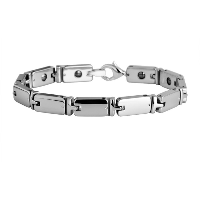 Man S Tungsten Carbide Polish With Germanium Magnetic Link Bracelet