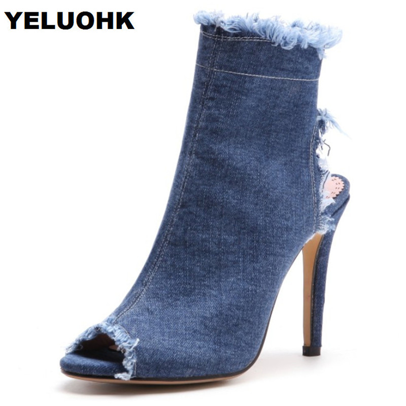 New Brand Denim Sandals Women Shoes Fashion Open Toes Shoes Woman High Heels Casual Summer Shoes Women Pumps Large Size new 2017 spring summer women shoes pointed toe high quality brand fashion womens flats ladies plus size 41 sweet flock t179