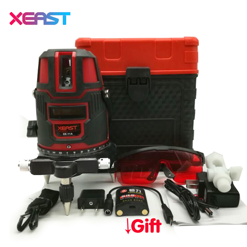 XEAST XE-11A Red or Green laser level meter 360 degree rotary cross 5 line 6 point laser line level,tilt mode Self Leveling 1pc laser cast line machine multifunction laser line cross line laser rotary laser level 360 selfing leveling 5 line 4v1h3 point