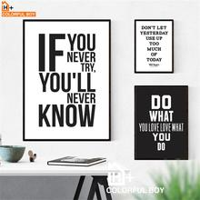 Motivational Inspiring Quotes Wall Art Canvas Painting Nordic Posters And Prints Black White Pictures For Living Room Decor