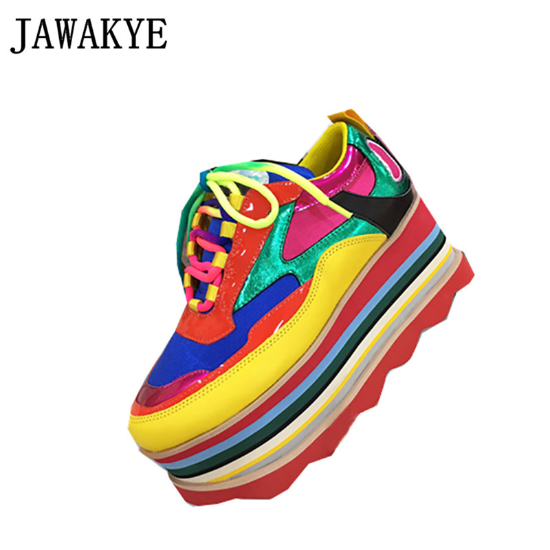 2019 Fashion Genuine Leather Rainbow Stripes Platform Shoes Woman Round toe Mixed Color ladies Thick bottom Sneakers For Women2019 Fashion Genuine Leather Rainbow Stripes Platform Shoes Woman Round toe Mixed Color ladies Thick bottom Sneakers For Women