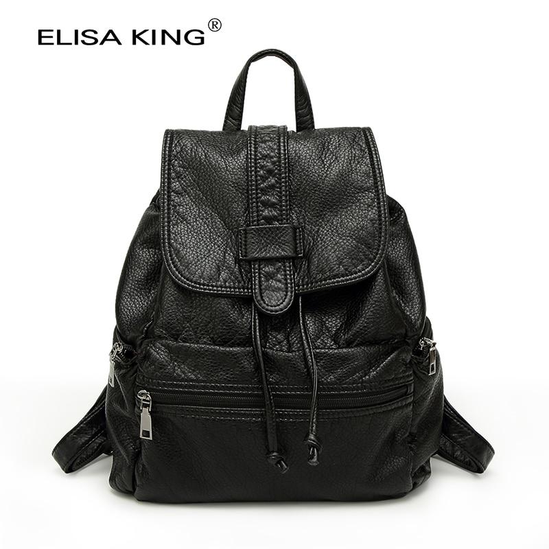 ФОТО Fashion Brand Women Backpack Student Backpacks Female Washable Leather Casual Women's Bags Ladies School Bags For Teenage Girls