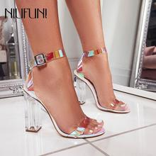 цена на Fashion Transparent Crystal Plus Size 35-42 Square Thick Heel Women's Sandals 2019 High Heels New Buckle Casual Ladies Shoes