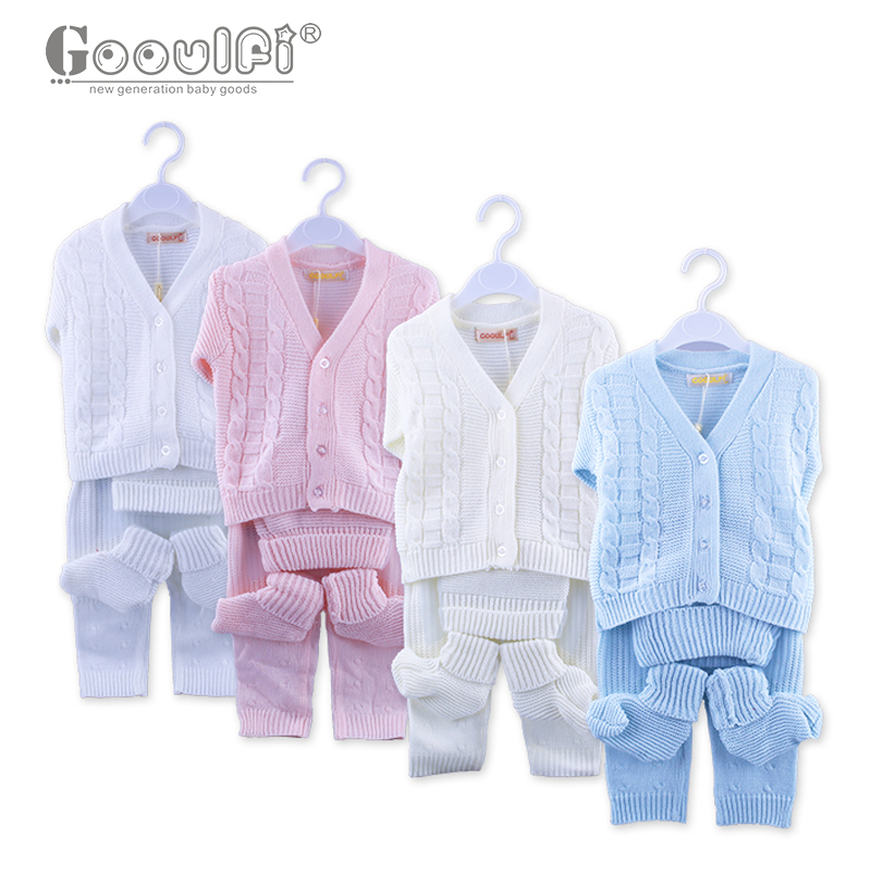Gooulfi Cotton Baby Suits Children Kids Sweaters V-neck Unisex Newborn Baby Boy Casual Full Sleeve Solid Color Newborn Clothes