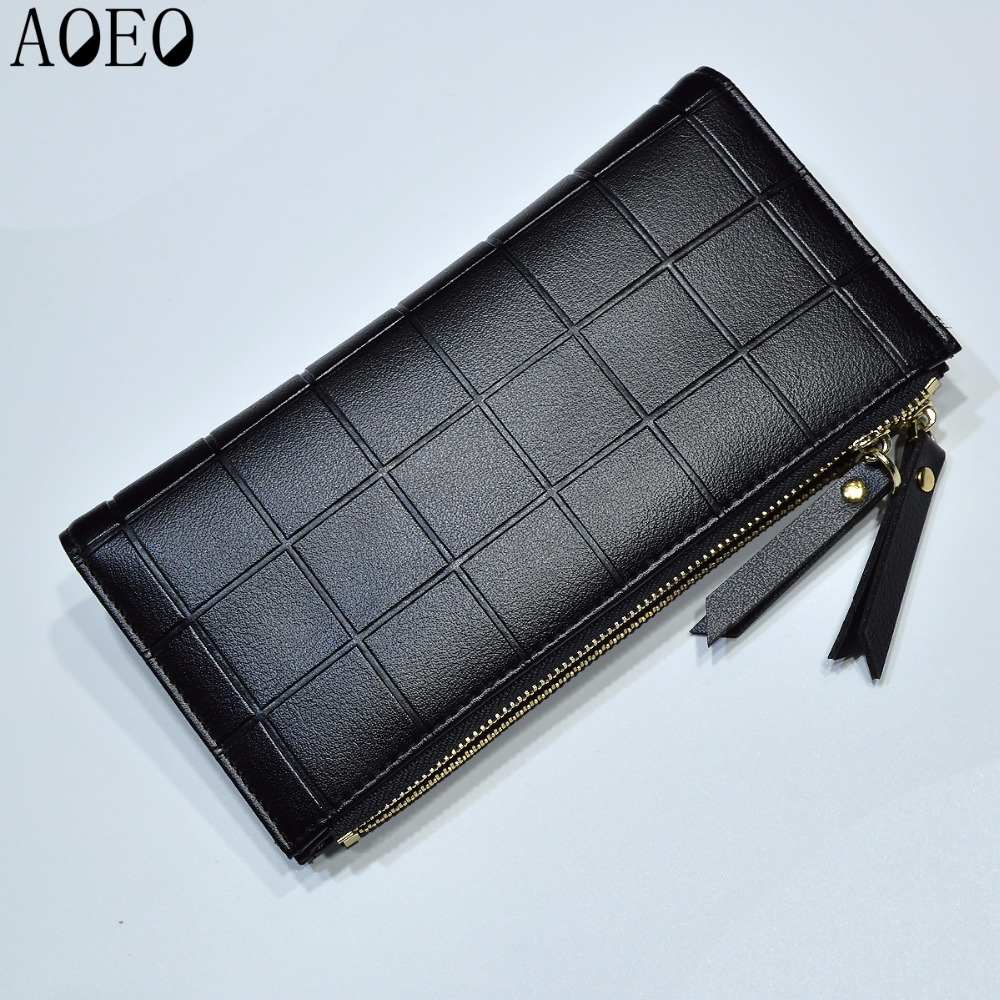 AOEO Womens Wallets and Purses Ladies Long 2 Zipper Coin Pocket 5.5 Phone Lady 10 Card Holder pu Leather Red Girls Wallet Female 3