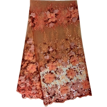 3D Floral Embroidery Lace Fabric Polyester Organza Lace African French Tulle Lace For Wedding Dress Fabric Coral Color6688B