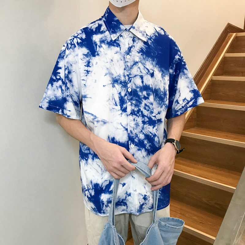 Dark Icon Tie Dyeing Men's Shirt Short Sleeve Summer Holiday Hawaii Shirts For Men Street Shirts 2 Colors