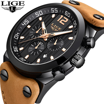 LIGE Men Watches Top Brand Luxury Chronograph Male Casual Leather Quartz Watch Men Sport Waterproof Watch Relogio Masculino+Box luxury leather gift box pacific angel shark sport watch 24hrs chronograph luminous steel water resistant men watches sh315 319