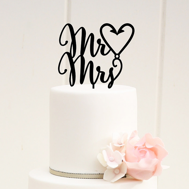 Mr Mrs Fishing Hook Heart Wedding Cake Topper For Decoration Favor Supplies Letters
