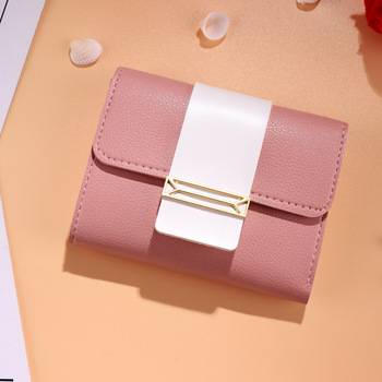 Small Women Leather Wallets Short Wallet Fashion Tri-fold Wallet Ladies Student Small Coin Purse  Designer Cute Kawaii Wallet