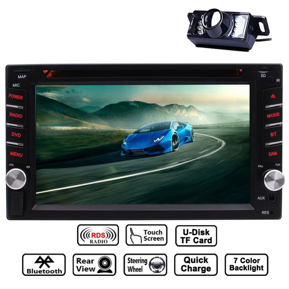 2 DIN Touchscreen In Dash Bluetooth Car Stereo Mp3 Audio Video DVD Player FM AM Radio/TF/USB/AUX-in/Subwoofer/Rear View Camera цена