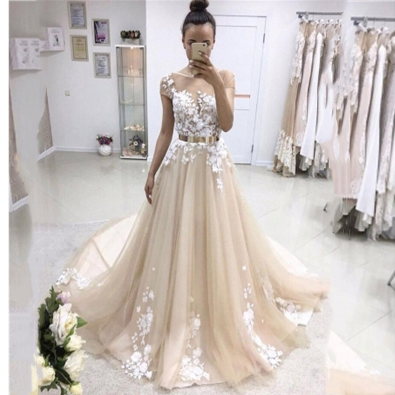 2019 Long   Prom     Dresses   With Belt Lace Appliques Formal Party Gowns Elegent Floor Length Evening   Dresses   Robes De Soiree