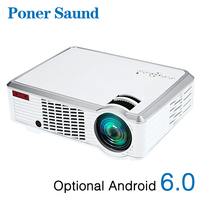 Poner Saund 3302W LED Projector Android Projector HD 1280x720 Resolution 3D for Home Cinema 1080p HDMI WIFI Proyector Bluetooth