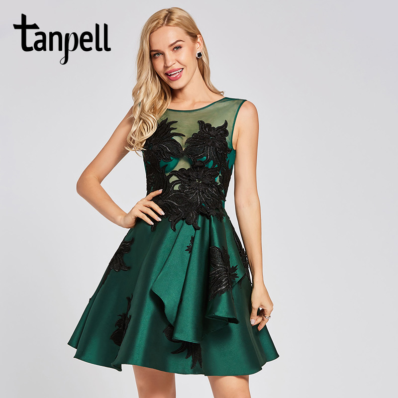 Tanpell appliques   cocktail     dress   dark green scoop neck sleeveless above knee a line gown lady homecoming short   cocktail     dresses