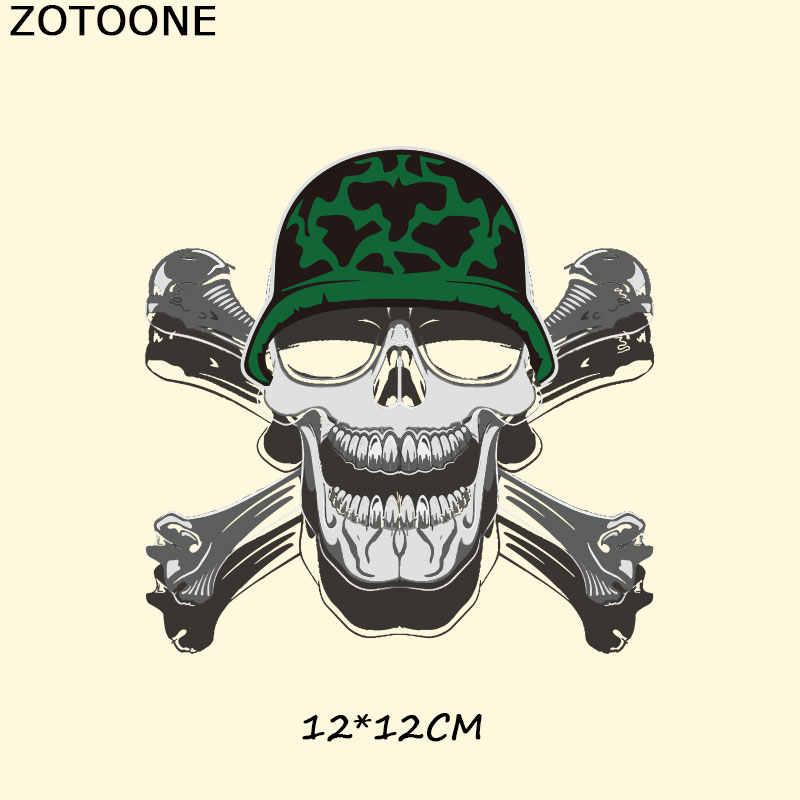 ZOTOONE Прохладный Череп патч для украшения одежды теплопередача железа патч ручной работы полосы Заказная заплата наклейки аппликация на футболку E