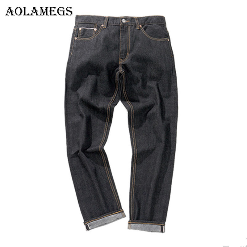 Aolamegs Biker Ripped Jeans For Men Black Pants Mens Selvage Skinny Jeans Brand Baggy Denim Cotton Trousers Bottoms 2017 Fashion 2017 fashion patch jeans men slim straight denim jeans ripped trousers new famous brand biker jeans logo mens zipper jeans 604