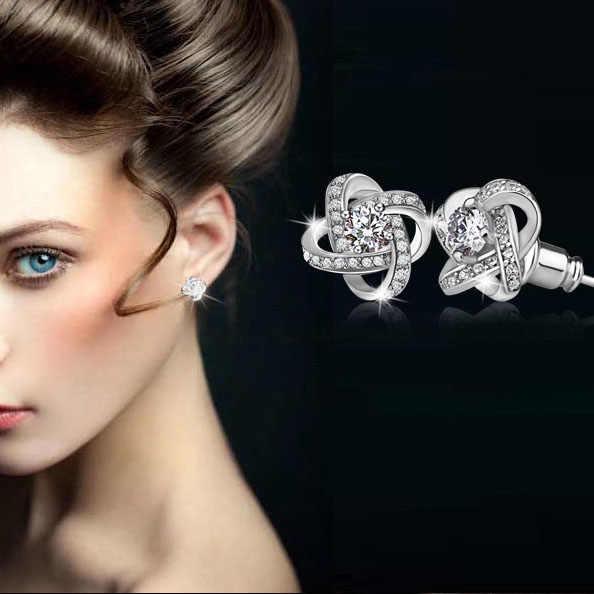 925 Sterling Silver Crystal Stud Earrings For Women Fashion Shiny Cubic Zirconia CZ Wedding Earring Jewelry Accessories
