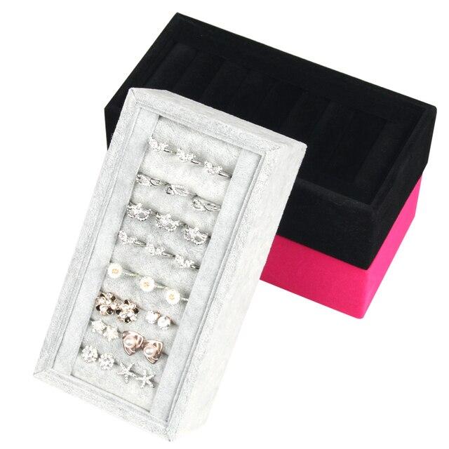 Black Velvet Jewelry Box Rings Earrings display Holder Jewelery