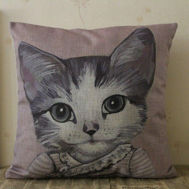 """Linkwell 18 """" x 18 """" кошка девушка розовый симпатичные комната мультфильм животное украшения дома барлеп чехол хместный диван патио подушки наволочка"""