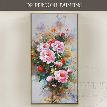 Top Artist Pure Hand-painted High Quality Peony Oil Painting Classical Chinese Flower Peony Oil Painting For Wall Decoration