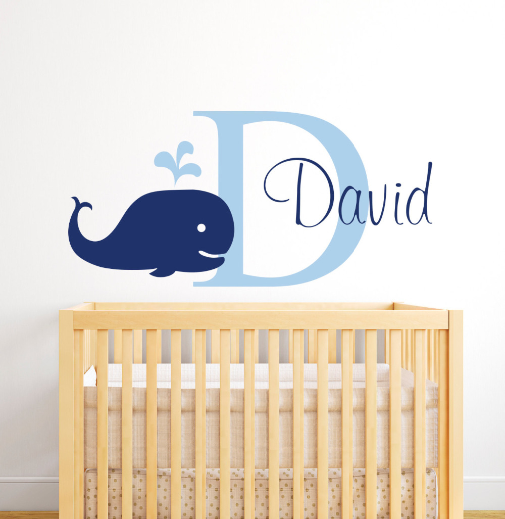 Us 8 98 25 Off Personalized Name Whale Baby Boy S Room Decor Nursery Wall Decals Vinyl Stickers For Kids Customize Jw019 In