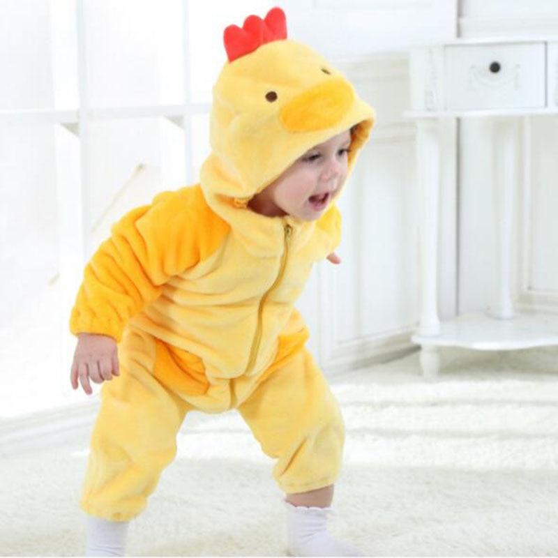 Baby Unisex Onesie Chick Cosplay Flannel Warm Cute Animal Kids Jumpsuits Pajamas Winter Costume Yellow Cartoon New Born   Rompers