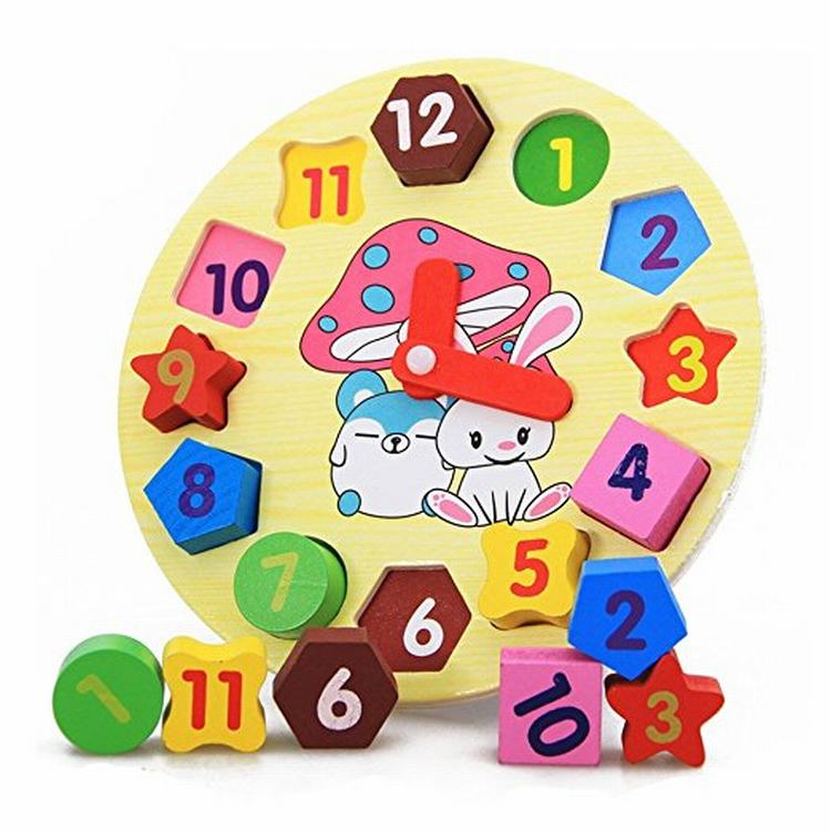 Kids Wooden Puzzle Toys Cognitive Digital Clock Digital Wooden Watch Jigsaw Toys Cartoon Rabbit Assembly Toys For Children Toys dandelion the wooden puzzle 1000 pieces ersion paper jigsaw puzzle white card adult children s educational toys