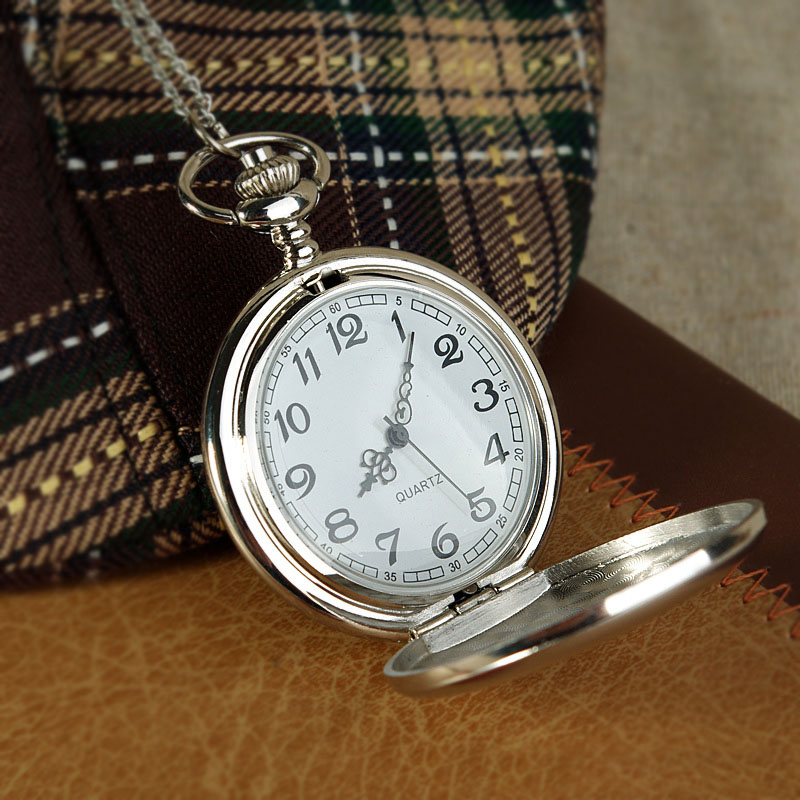 Fashion Pocket Watch Fob Chain Pendant Necklace Watches Silver Polish Quartz Gifts For Men Women Clock