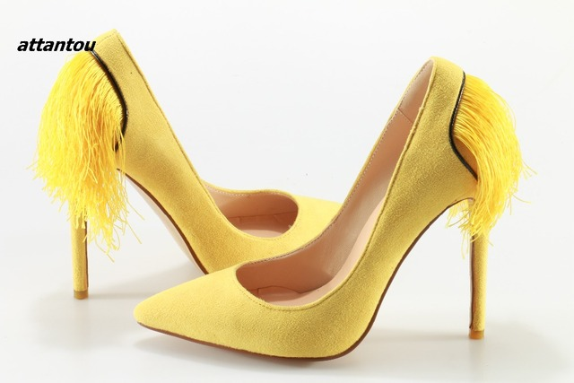 High Heels Pointed Toe Yellow Suede Women Pumps Elegant Back Fringe Wedding Shoes Woman Spike