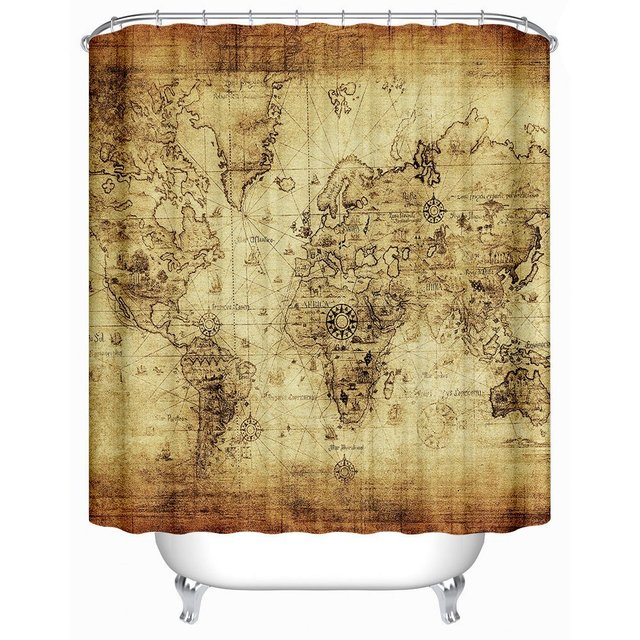 NANAZ Antique Map Of The World Children Bathroom Curtain Accessories Earthy Polyester Fabric Shower Curtains