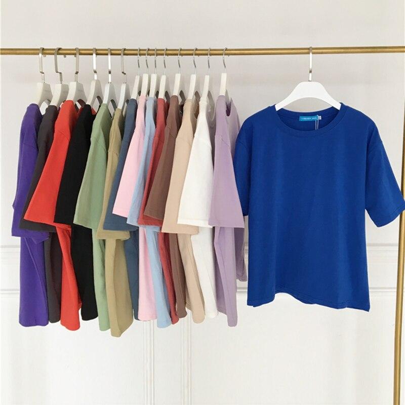 15 Solid Color Cotton T Shirt Women S-XL Harajuku White Women's T-shirt Femme O-Neck Korean Summer Top Basic Tshirt Dropshipping