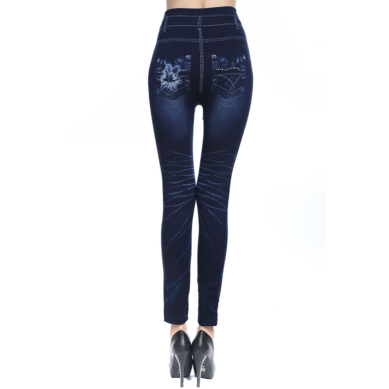 Love seamless hollowed out sexy pencil pants imitation denim leggings printed wrap pants feet pants