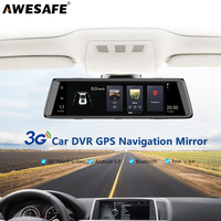 AWESAFE 3G Car DVRs 10 Full Touch Screen Car Mirror DVR Camera Android 5 1 GPS