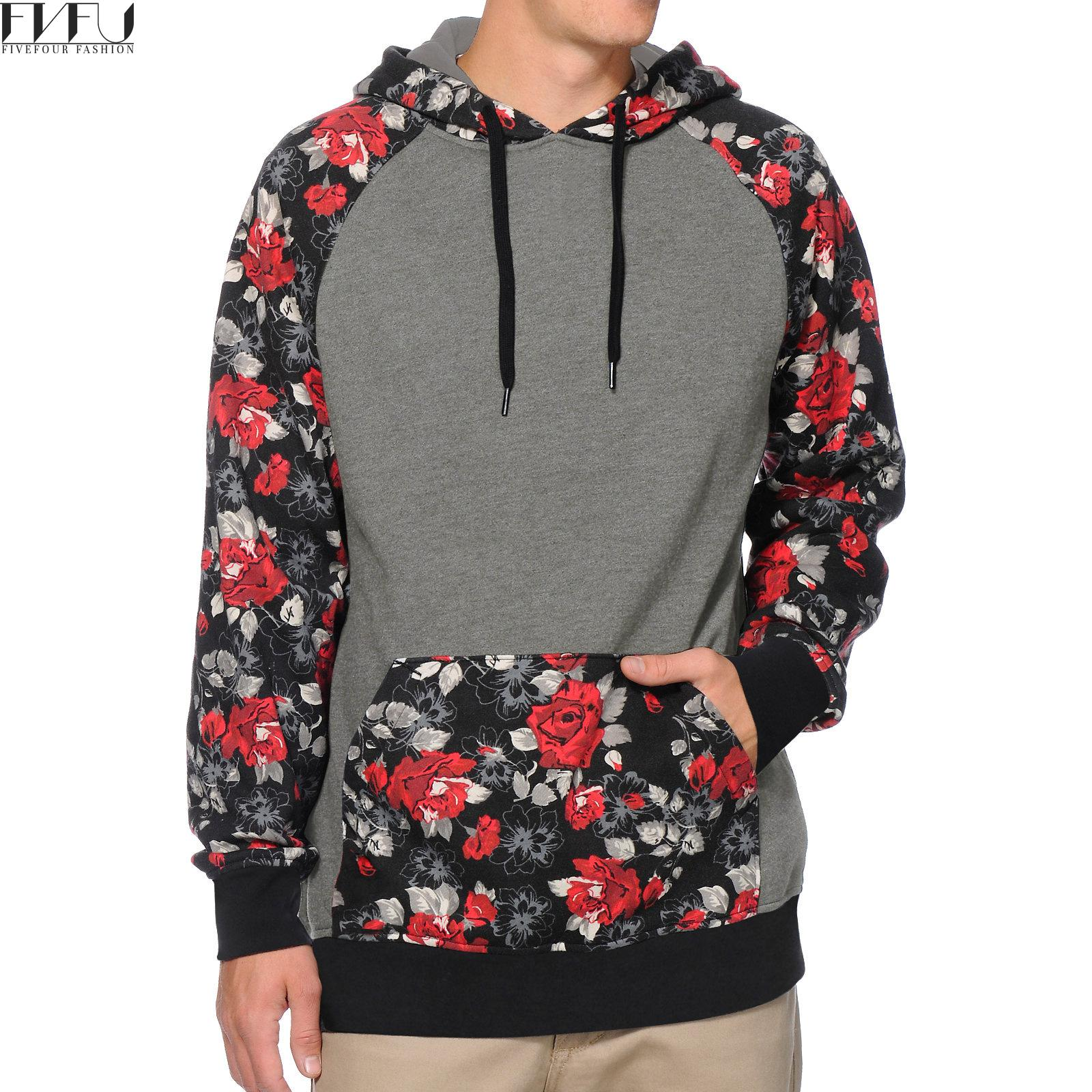 2017 Fashion Men's Hoodies Gray With Red Floral Print Sweatshirts Loose Casual Tracksuits Tops With Pockets Hoodie Plus Size